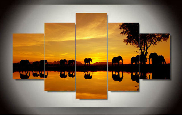 Framed Printed Africa Elephant Picture Painting Wall Art Room Decor Canvas  Art Decor For Living Room