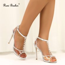 Roni Bouker New Fashion Woman Clear High Heel Shoes Women Peep Toe Strappy Gladiator Sandals Womans Diamante Heels Sandal