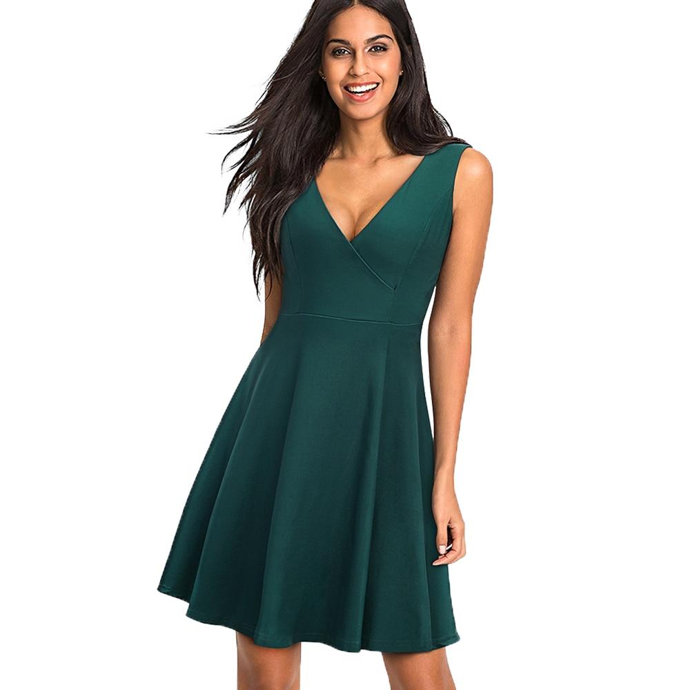 1e85b8574b6 Women Elegant Pin Up Sleeveless Party Dress Sexy V Neck Swing Summer A-line  Dress Vestidos EA087