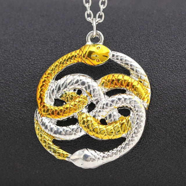 The NeverEnding Story Necklace Never Ending AURYN Ouroboros Snakes Silver Gold Fashion Pendant Movie Jewelry Wholesale