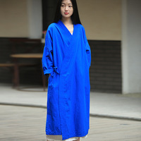 spring vestidos robe femme black dress befree clothes women linen shirt dress Japanese kimono femme blue dresses with rope