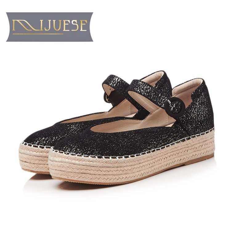цены MLJUESE 2018 women flats sheepskin Mary Janes silver color platform loafers casual shoes creeper fisherman flats party dress