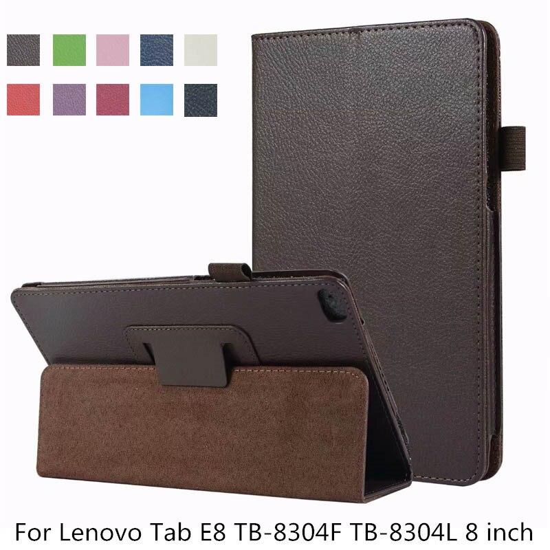 Slim Litchi Flip Stand PU Leather Skin Bag Coque Cover Shell Funda Capa Case For Lenovo Tab E8 TB-8304F TB-8304L 8 Inch Tablet