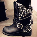 Hot Sale Genuine Leather Women Fashion Ankle Boots Back Zipper Rivets Studded Autumn Winter Short Booties Martin Botas Militares