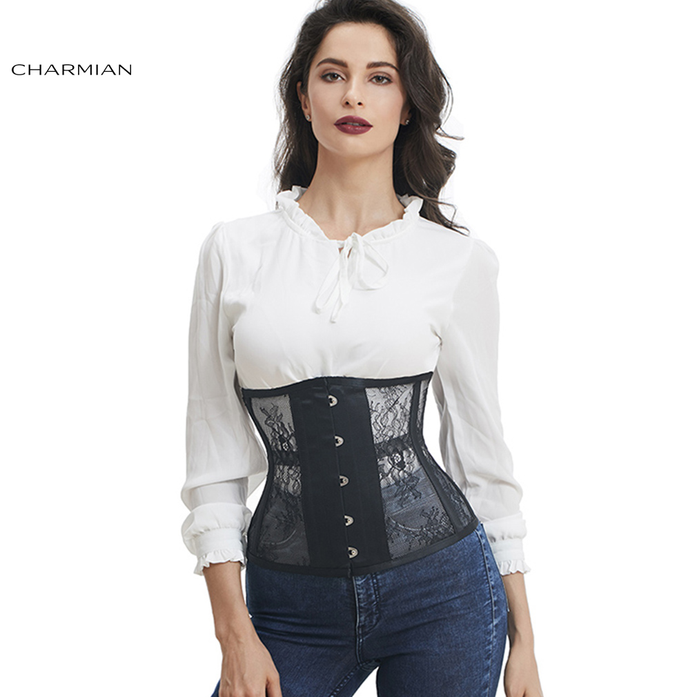 Charmian Women s Retro Gothic Underbust Corset Black White Lace Steel Boned Corsets and Bustiers Body