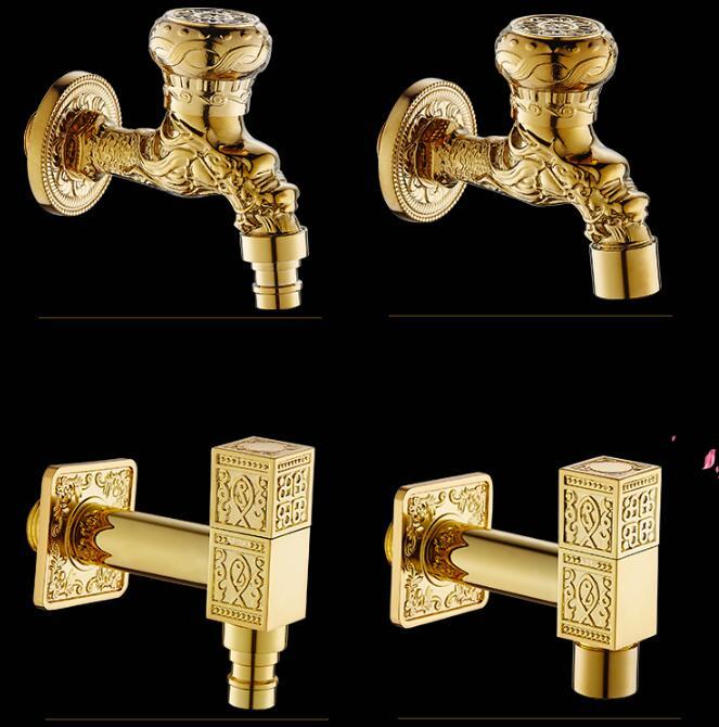 New Style Gold Dragon Carved Bibcock Faucet Brass Bathroom Washing Machine Faucet Bibcocks Outdoor Bathroom Mixer Garden Faucet