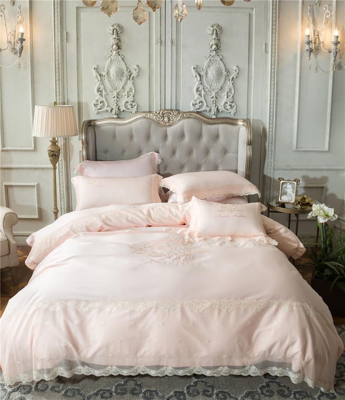Royal Princess Girls Fancy Bedroom Decor 4 Piece Home Textiles Cotton Pink Bedding Set Lace Duvet Cover And Pillow Cases Double Bedding Sets Aliexpress