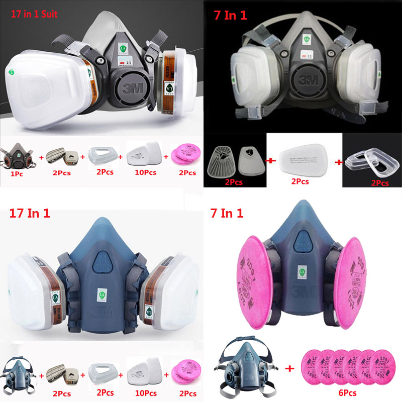 3M 6200 7502 Falf fack Respirator Spraying Gas mask Industry Safety Protection Dust Mask Respirator For Painting 9 in 1 suit gas mask half face respirator painting spraying for 3 m 7502 n95 6001cn dust gas mask respirator