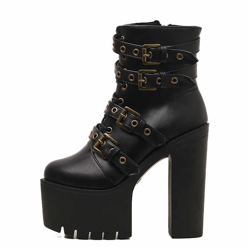 Prova perfetto Seksi Perçin Siyah yarım çizmeler Kadın Platformu Yumuşak Deri Sonbahar Kış Bayan Botları Fermuar Ultra Yüksek Topuklu Ayakkabılar