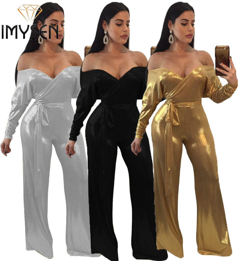 IMYSEN SXXXL Plus Size Jumpsuit Women Romper Solid Metal Color Strapless Long Sleeve Fashion Jumpsuits Sashes One Piece Outfit