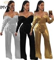 Imysen sxxxl زائد حجم بذلة النساء رومبير الصلبة لون معدني حمالة طويلة الأكمام الأزياء حللا الزنانير قطعة واحدة الزي