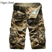 New 2016 brand men's casual camouflage loose cargo shorts men large size multi-pocket military short pants overalls 30-40 42 44