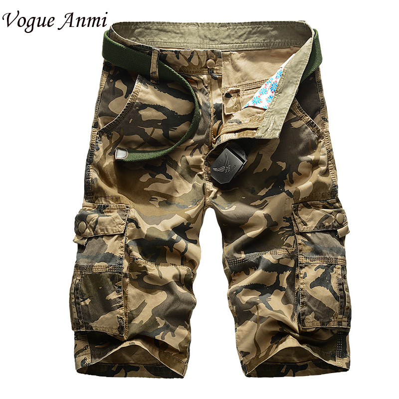 New 2016 brand men s casual camouflage loose cargo shorts men large size multi pocket military