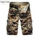 Novo 2016 da marca dos homens casual camuflagem shorts da carga dos homens soltos tamanho grande multi-bolso militar calças curtas macacão 30-40 42 44
