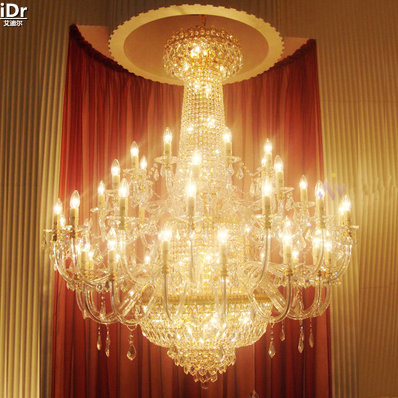 Penthouse floor living room floor lamp headlights villa project in the long staircase crystal lamps gold Chandeliers Lmy-0179