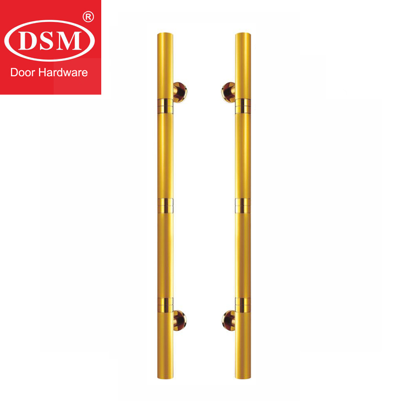 Golden 304 Grade Stainless Steel Pull Handles Electroplate CE Standard Entrance Door Handle PA-627 For Wooden/Glass/Metal Doors antimicrobial black solid nylon offset door pull handle for entrance glass wooden metal frame doors pa 797