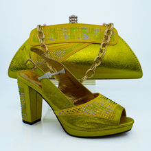 Wholesale Italian Ladies Matching Shoes And Bags Set in gold Color Heel 8cm(Szie:38-42)! VB1-77