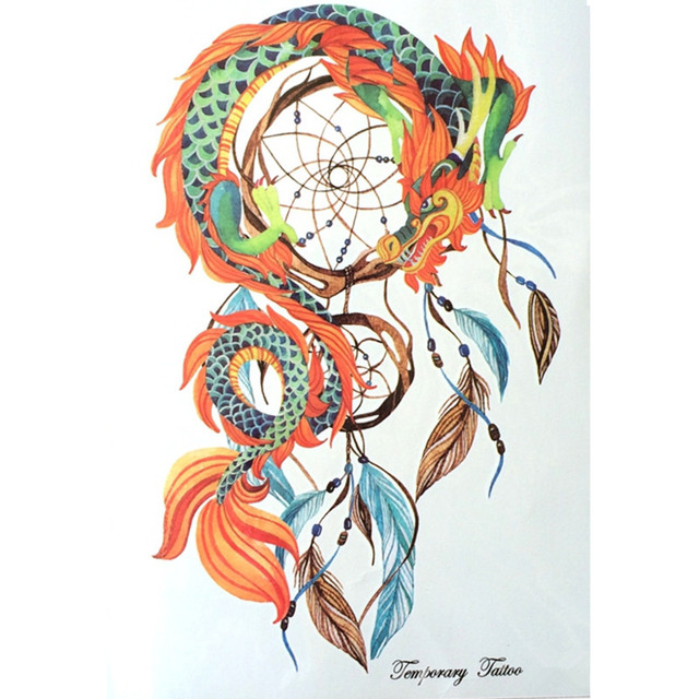 Fashion 21 X 15 CM Waterproof Hot Temporary Tattoo Stickers Dreamcatcher With Dragon