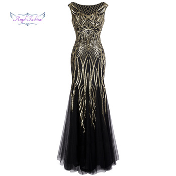 Angel-fashions Bateau Boat Neck Vintage Golden Sequin Ball Gown Long Prom Dresses