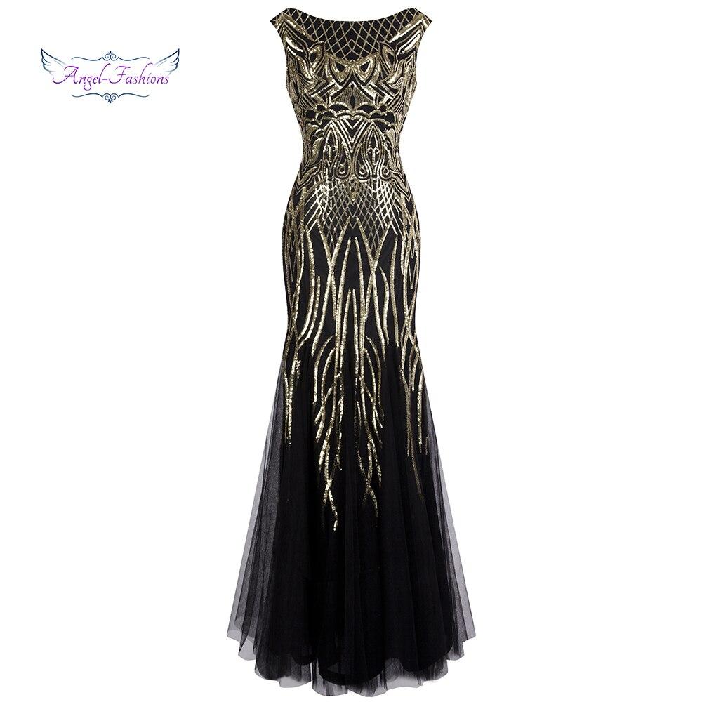 Ange-mode Bateau col Bateau Vintage doré Sequin robe de bal longue robes de bal 377