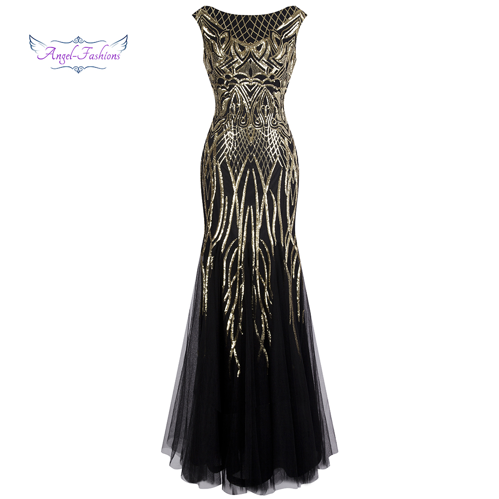 Angel-fashions Bateau Boat Neck Vintage Golden Sequin Ball Gown Long Prom Dresses 377