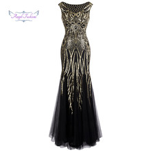Angel-fashions Bateau Boat Neck Vintage Golden Sequin Ball Gown Long Prom Dresses 377(China)