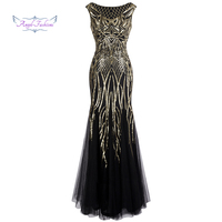 Angel fashions Bateau Boat Neck Vintage Golden Sequin Ball Gown Long Prom Dresses 377
