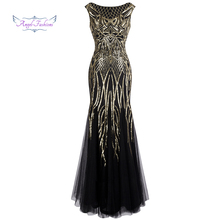 Angel-fashions Bateau Boat Neck Vintage Golden Sequin Ball Gown Long Prom