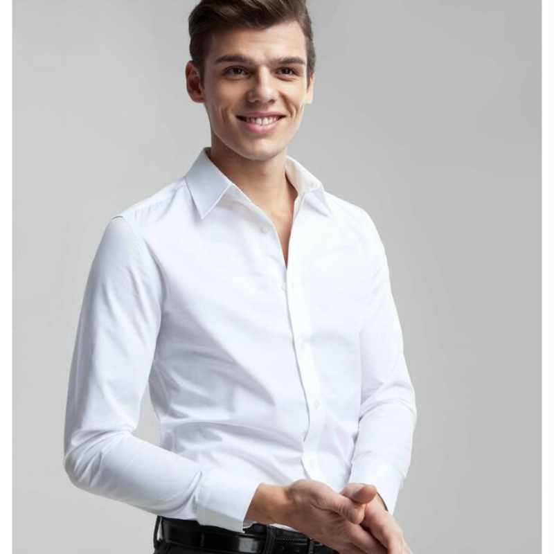 2018 Hot Selling High Quality Men's Slim Shirt 100% Cotton Shirt Men's Fashion Business Casual Pure Shirt Free Shipping 4 Color