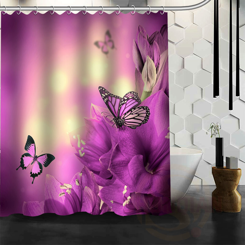 New Custom Eco Friendly Polyester Bathroom Curtain Printed A Butterfly Stay In Purple Peony High