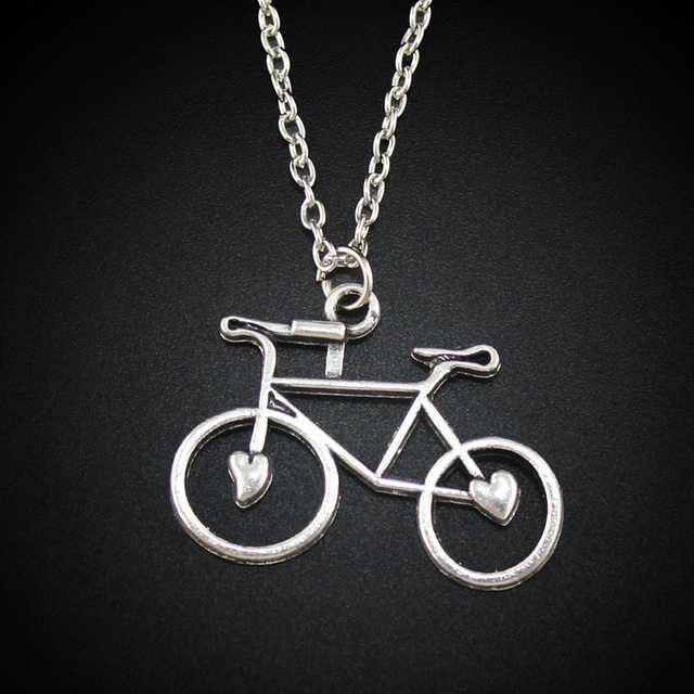 Womens jewelry vintage silver tone 12x09 bicycle pendant short womens jewelry vintage silver tone 12x09 bicycle pendant short necklace dy128 aloadofball Image collections