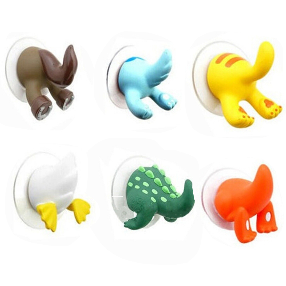 1PC 6 Colors Cute Cartoon Animal Tail Sucker Suction Hook Baby Bathroom Towel Hanger Holder