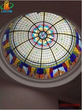 Customized American creative ceiling glass dome Tiffany sun room exhibition hall lighting clubroom lamp