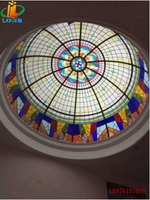Customized American creative ceiling glass dome Tiffany sun room exhibition hall lighting clubroom dome dome lamp