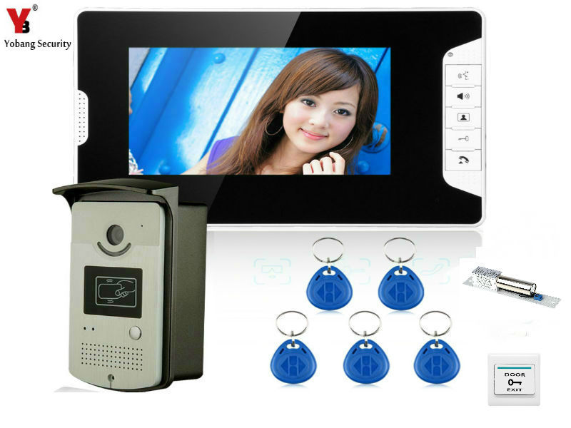YobangSecurity 7 Inch Video Doorbell Door Viewer Home Security Camera Monitor Intercom System Doorbell Entry Kit with Door Lock yobangsecurity video door intercom entry system 2 4g 9 tft wireless video door phone doorbell home security 1 camera 2 monitor