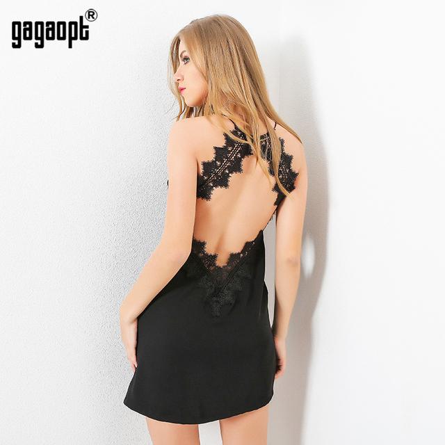 Gagaopt 2017 Summer Dresses Women Sexy Open Back Hollow Lace Patchwork Sleeveless Casual Vestidos Strapless Clubwear D2043B