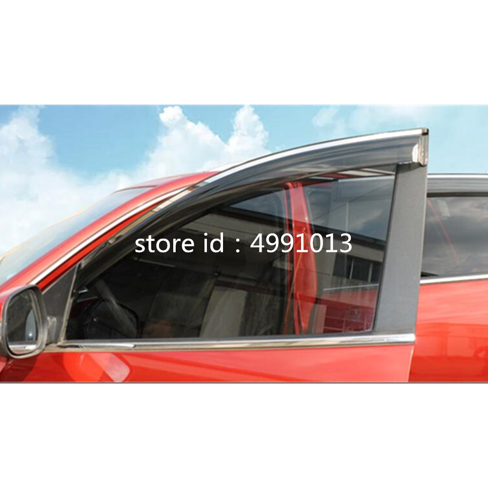 Image 4 - Car sticker Window glass Wind Visor Rain Sun Guard Vent word frame trim lamp 4pcs for Suzuki Vitara 2016 2017 2018-in Awnings & Shelters from Automobiles & Motorcycles