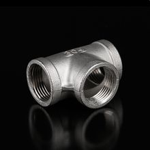 2pcs Tee Type 3 Way 304 Stainless Steel Tube Pipe Fitting Connector 1/2 to Female BSP Thread