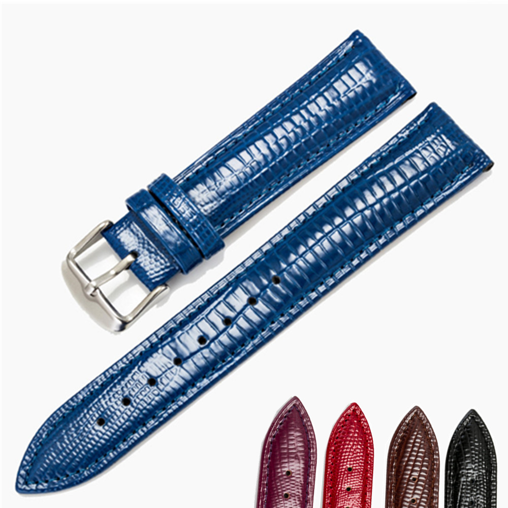 High Quality  14mm 16mm 20mm 22mm Watch Band Genuine Leather Straps Watch Accessories Lizard Pattern Watchbands