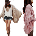 New Knitted Wool Winter Cardigans Poncho Capes Long Sleeve Oversize Women Sweater Crochet Black Batwing Crochet Laides Coat MF48