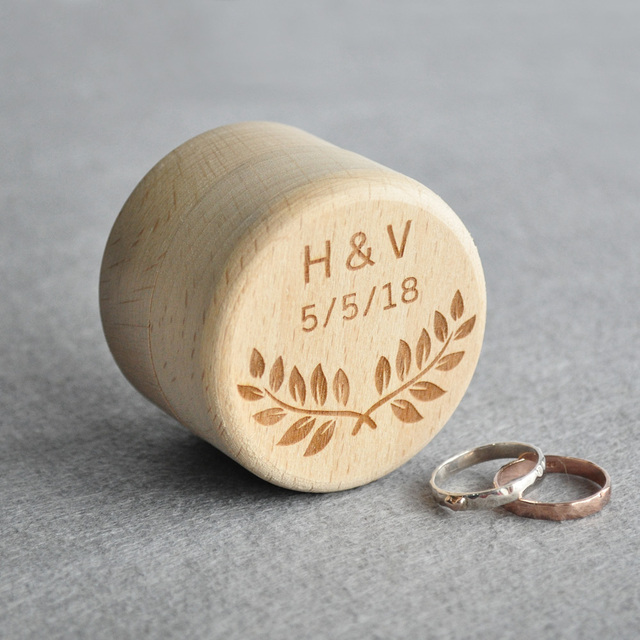 Custom Rustic Wedding Ring Box Personalized Wedding Ring Bearer