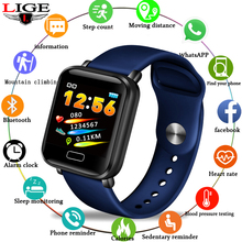 LIGE New Smart Bracelet Men Sport Watch Smart Wristband Blood Pressure Heart rate Monitor Pedometer Fitness Tracker Watch band lige new smart bracelet band heart rate fitness tracker watch blood pressure monitor smart wristband pedometer for android ios