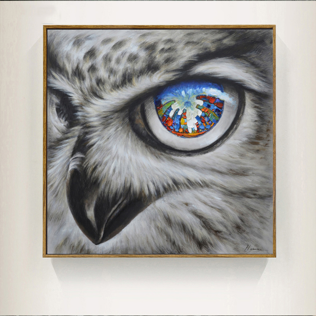 Cool Owl Canvas Painting Wall Art Abstract Modern Bird Canvas ...
