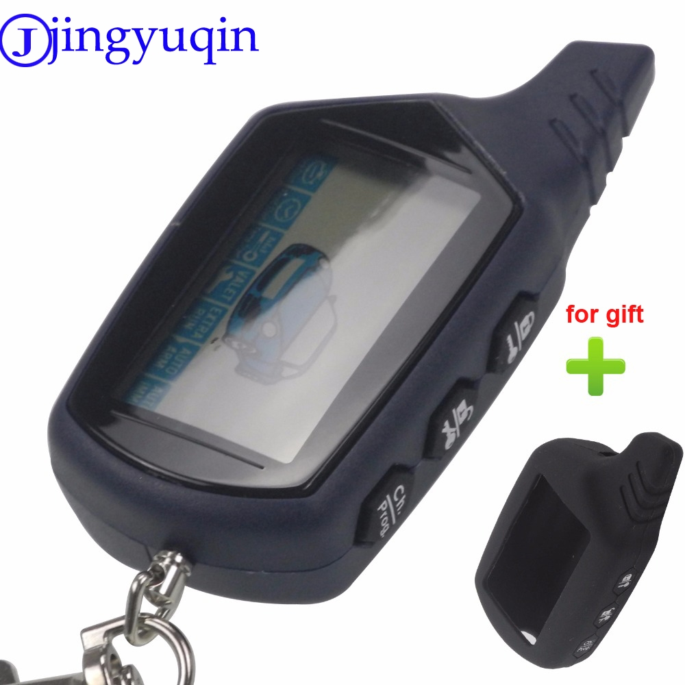 jingyuqin + Silicone Gift Starline B9 LCD Remote Controller For Two Way Car Alarm Starline B9 Twage Keychain Russian Version