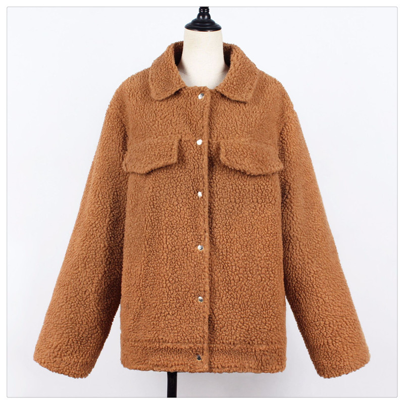 Spot Europe and the United States autumn and winter new style imitation fur foreign trade women plush coat leisure coat women (13)