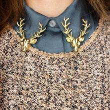 цены Hot Unisex Animal Christmas Popular Cute Gold Plated Deer Antlers Head Pin Brooches Styling