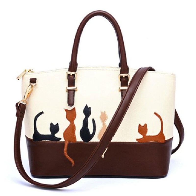 Women Tote Bag Cat PU Leather Shoulder Bags Designer Messenger Handbag Famous Brands Cross Body Purse Handbags Fashion wholesale women tote vintage female cow leather handbag designer brands shoulder crossbody bag embroidered messenger cross body bags purse