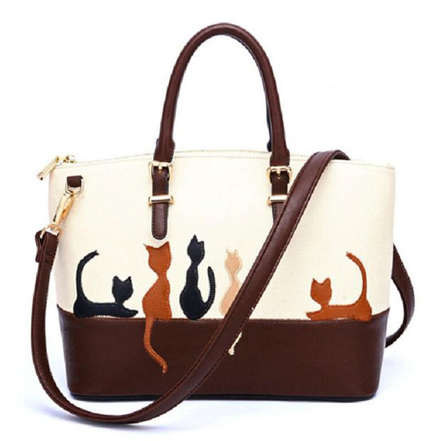Women Tote Bag Cat Pu Leather Shoulder Bags Designer Messenger Handbag Famous Brands Cross Body Purse