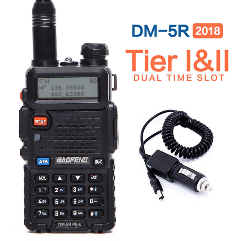 Baofeng DM-5R PLUS Tier1 Tier2 Numérique Talkie Walkie DMR Deux-way radio VHF/UHF Double Bande radio Répéteur DM 5R plus + un chargeur de voiture
