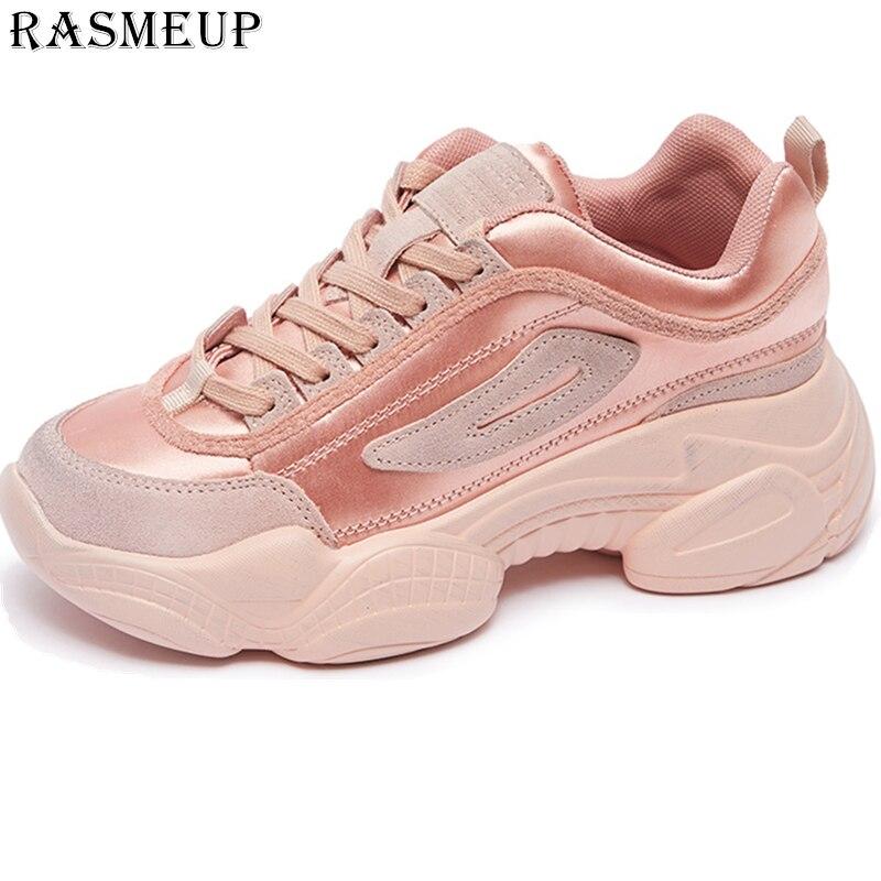 RASMEUP Genuine   Leather   Women's Chunky Sneakers 2019 Fashion Women Pink Basket Femme Sneaker Woman Platform Trainers Lady shoes